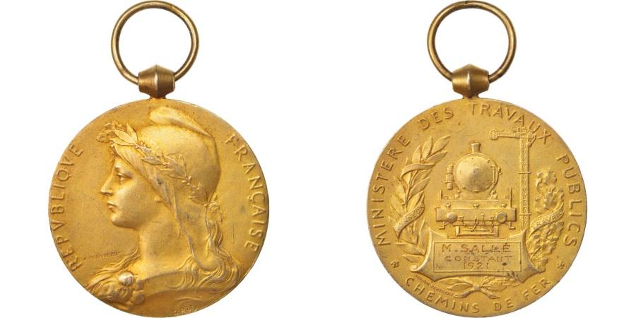 World Coins - France, Ministère des travaux publics, chemins de fer, Medal, 1921, Very Good