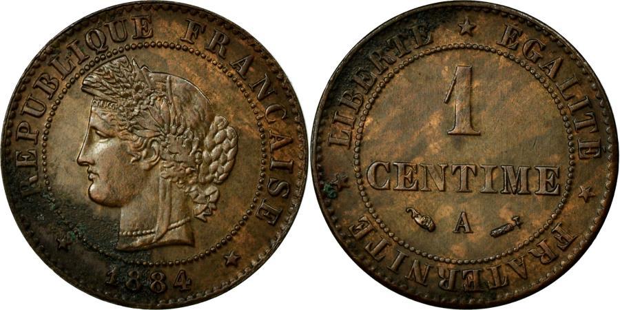 World Coins - Coin, France, Cérès, Centime, 1884, Paris, AU(50-53), Bronze, Gadoury:88