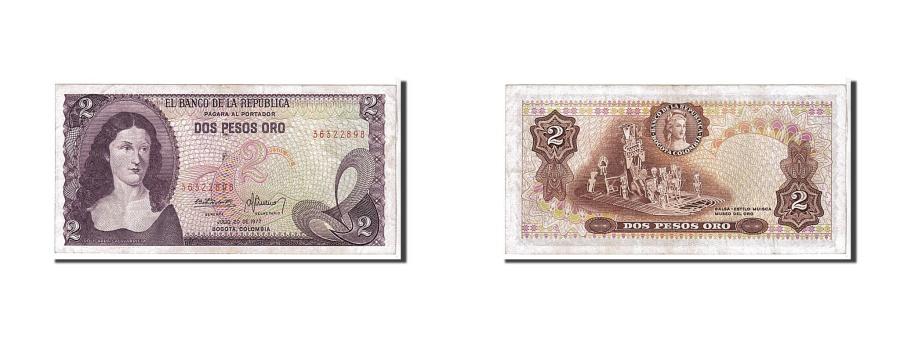 World Coins - Colombia, 2 Pesos Oro, 1977, KM #413b, UNC(60-62), 36322898