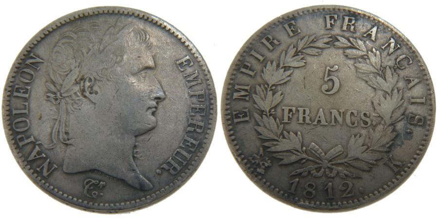 World Coins - FRANCE, Napoléon I, 5 Francs, 1812, Bordeaux, KM #694.8, , Silver, G...