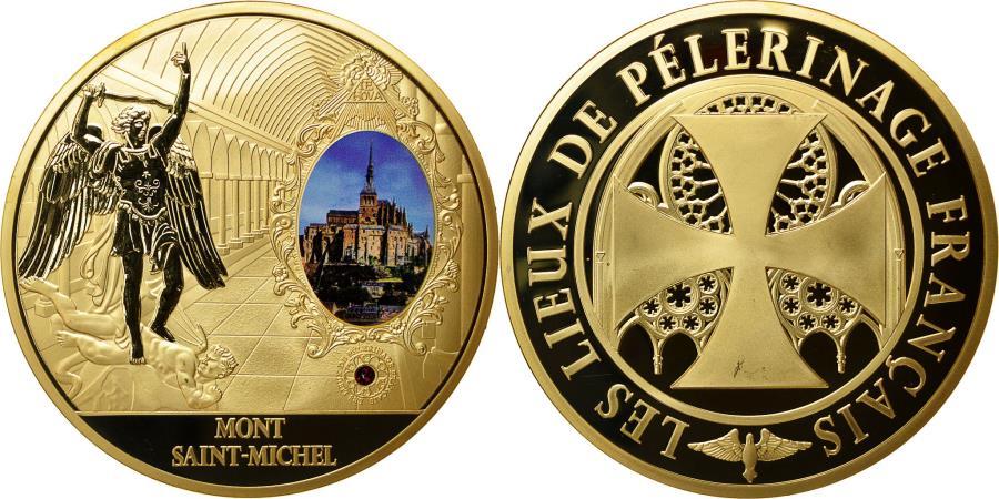 US Coins - France, Medal, Mont Saint Michel, Lieu de Pélerinage Français, MS(64), Copper