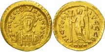 Ancient Coins - Leo I, Solidus, Constantinople, AU(50-53), Gold, RIC:605