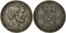World Coins - Netherlands, William III, 2-1/2 Gulden, 1869, EF(40-45), Silver, KM:82