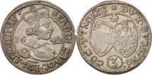 Austria, Ferdinand Charles, 3 Kreuzer, 1642, Hall, MS(60-62), Silver, KM:852