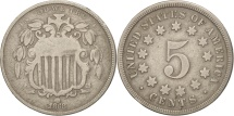 Us Coins - United States, Shield Nickel, 5 Cents, 1868, U.S. Mint, Philadelphia, VF(20-25)