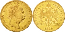 Austria, Franz Joseph I, 8 Florins-20 Francs, 1885, MS(60-62), Gold, KM:2269
