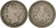 Us Coins - United States, Liberty Nickel, 5 Cents, 1904, U.S. Mint, Philadelphia, F(12-15)