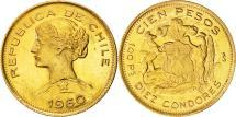 World Coins - Chile, 100 Pesos, 1960, Santiago, AU(55-58), Gold, KM:175