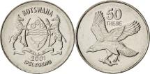 Botswana, 50 Thebe, 2001, British Royal Mint, MS(64), Nickel plated steel, KM:29