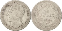 Belgium, Leopold I, 1/2 Franc, 1834, F(12-15), Silver, KM:6
