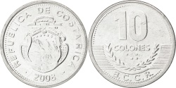 World Coins - COSTA RICA, 10 Colones, 2008, KM #228b, , Aluminum, 22.97, 1.15