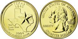 Us Coins - Coin, United States, Texas, Quarter, 2004, U.S. Mint, , Gold plated