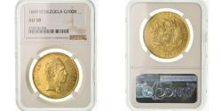 World Coins - Coin, Venezuela, 100 Bolivares, 1889, Caracas, NGC, AU58, Gold, KM:34, graded