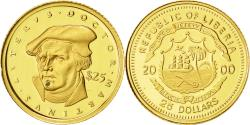 World Coins - Liberia, 25 Dollars, Martin Luther, 2000, American Mint, MS(65-70), Gold, KM:623
