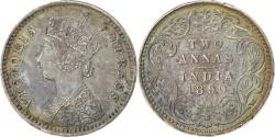 World Coins - INDIA-BRITISH, 2 Annas, 1890, KM #488, , Silver, 1.44
