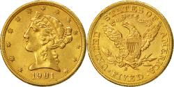 Us Coins - Coin, United States, Coronet Head, $5,1901,San Francisco,, Gold, KM 101