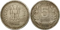 World Coins - Coin, INDIA-REPUBLIC, 5 Rupees, 2001, , Copper-nickel, KM:154.1