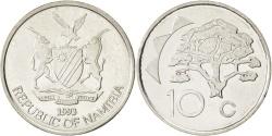 World Coins - NAMIBIA, 10 Cents, 1993, Vantaa, KM #2, , Nickel Plated Steel, 21.5, 3.38