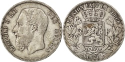 World Coins - BELGIUM, 5 Francs, 5 Frank, 1870, Brussels, KM #24, , Silver, 24.66