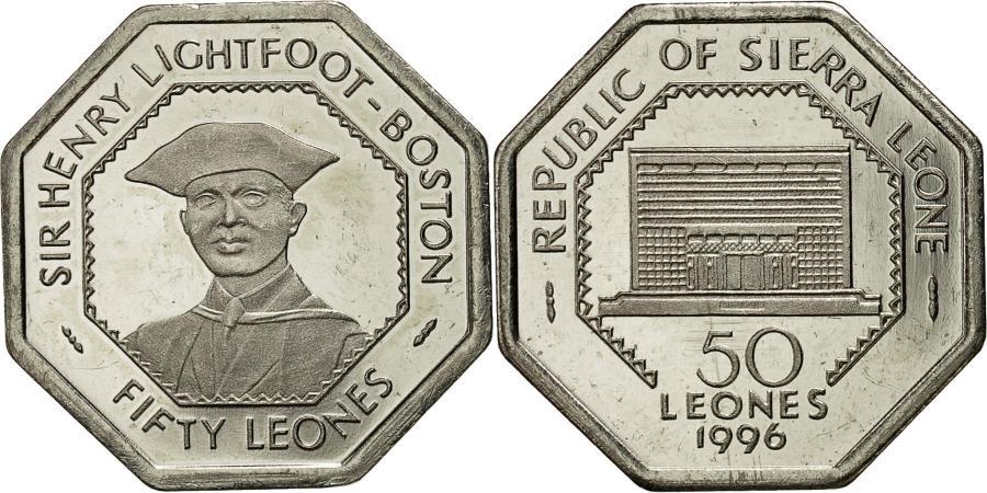 BIMETAL 500 and 100 50 LEONES UNC COIN 1996 2004  KM 45,46 296 SIERRA LEONE