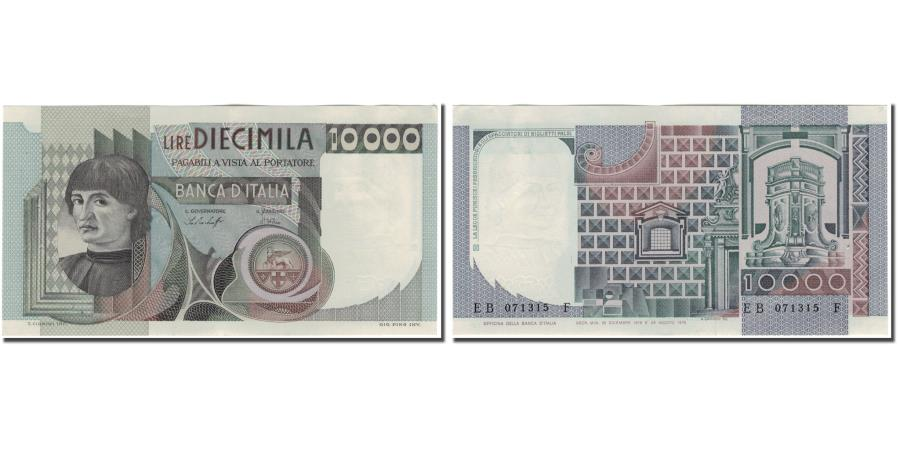 World Coins - Banknote, Italy, 10,000 Lire, KM:106a, AU(55-58)