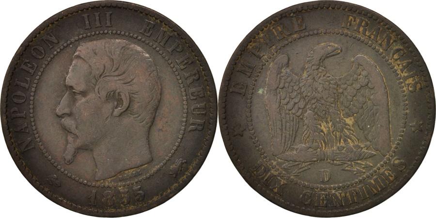 World Coins - France, Napoleon III, 10 Centimes,1855 Lyon, ,Bronze,KM771.4,Gadoury248