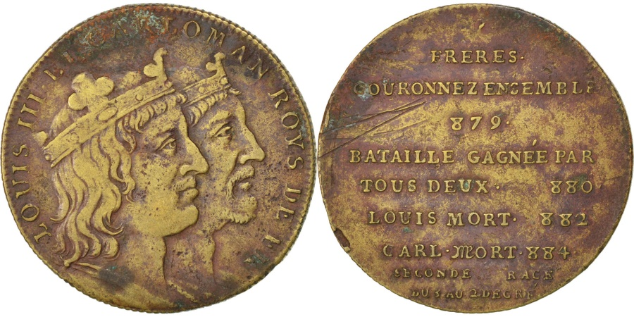 World Coins - FRANCE, History, Louis III et Caloman III, Medal, , Copper, 32, 14.50