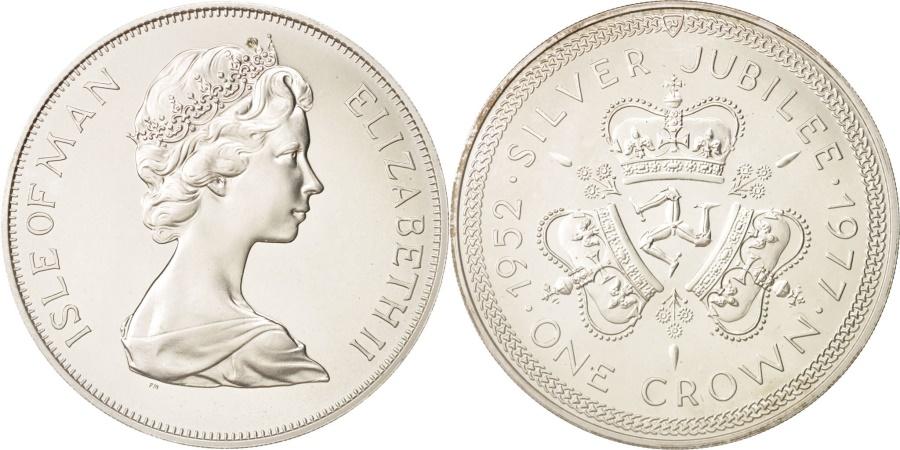 World Coins - Isle of Man, Elizabeth II, Crown, 1977, Pobjoy Mint, , Silver, KM:41a