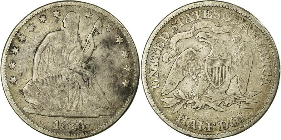 US Coins - Coin, United States, Seated Liberty Half Dollar, Half Dollar, 1876, U.S. Mint