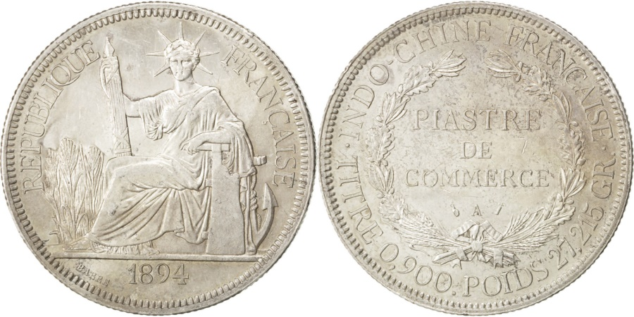 World Coins - FRENCH INDO-CHINA, Piastre, 1894, Paris, KM #5, , Silver, Lecompte...