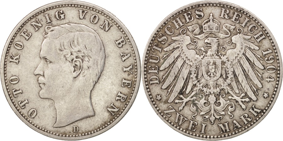 World Coins - German States, BAVARIA, Otto, 2 Mark, 1904, Munich, , Silver, KM:913