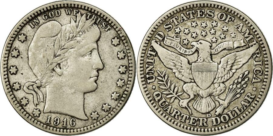 US Coins - Coin, United States, Barber Quarter, 1916, Denver, , Silver