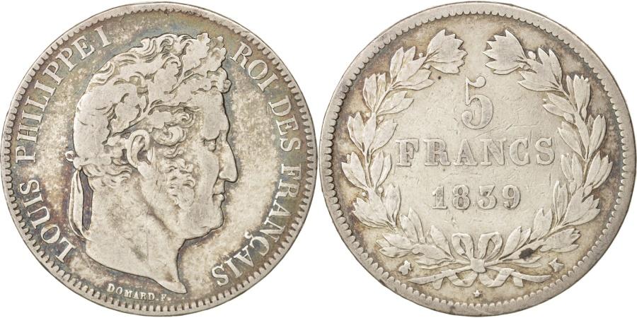 World Coins - France, Louis-Philippe, 5 Francs, 1839, Bordeaux, , Silver, KM:749.7