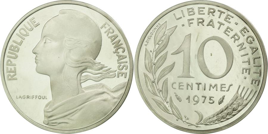 World Coins - Coin, France, 10 Centimes, 1975, MS(65-70), Silver, KM:P519, Gadoury:46.P2