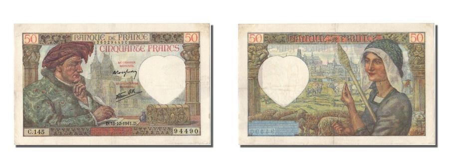 World Coins - France, 50 Francs, 50 F 1940-1942 ''Jacques Coeur'', 1941, KM #93, 1941-12-18,..