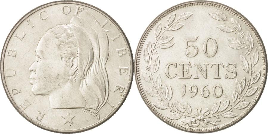 World Coins - Liberia, 50 Cents, 1960, Heaton, , Silver, KM:17