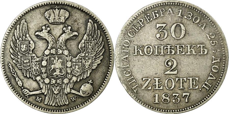 World Coins - Coin, Poland, Nicholas I, 2 Zlote-30 Kopeks, 1837, Moneta Wschovensis