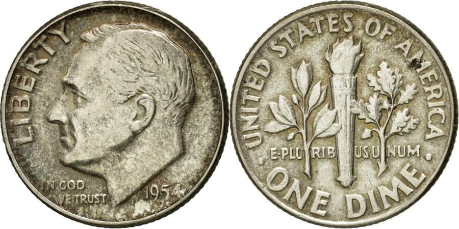 US Coins - Coin, United States, Roosevelt Dime, Dime, 1954, U.S. Mint, Philadelphia