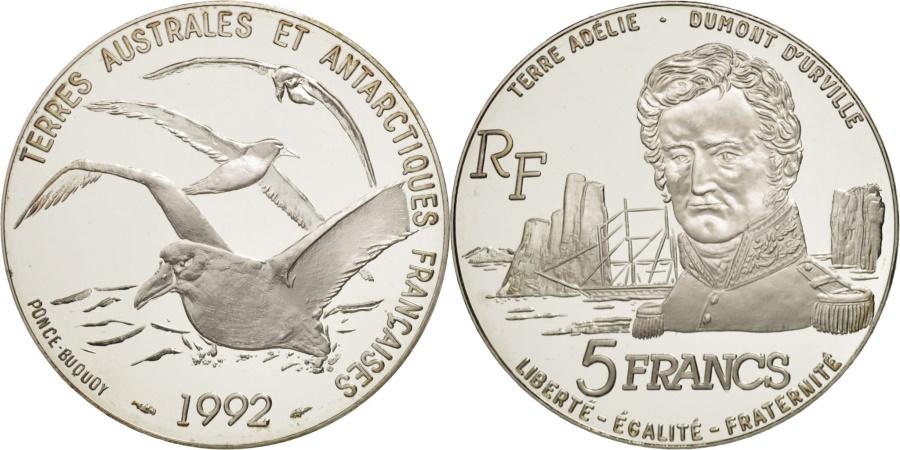World Coins - France, Terres Australes, 5 Francs, 1992, Paris, , Silver, KM:1007