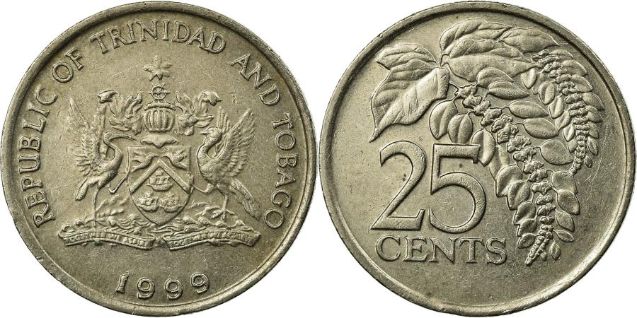 World Coins - Coin, TRINIDAD & TOBAGO, 25 Cents, 1999, , Copper-nickel, KM:32