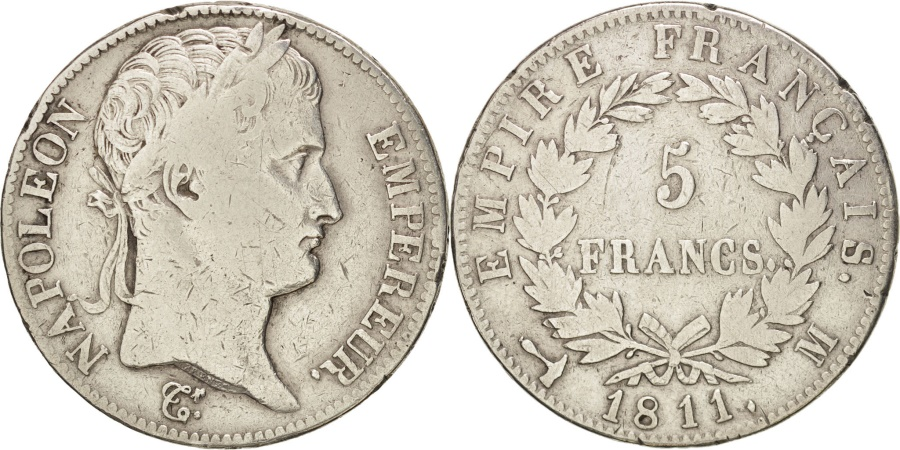 World Coins - FRANCE, Napoléon I, 5 Francs, 1811, Toulouse, KM:694.10, , Silver,...