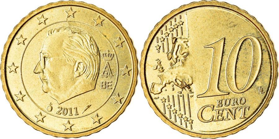 World Coins - Belgium, 10 Euro Cent, 2011, , Brass, KM:277
