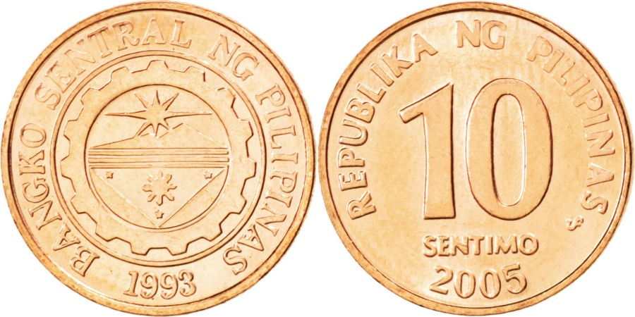 World Coins - PHILIPPINES, 10 Sentimos, 2005, KM #270.1, , Copper Plated Steel, 17, 2.48