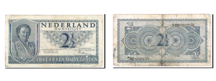 World Coins - Netherlands, 2 1/2 Gulden, 1949, KM #73, EF(40-45), 5SR
