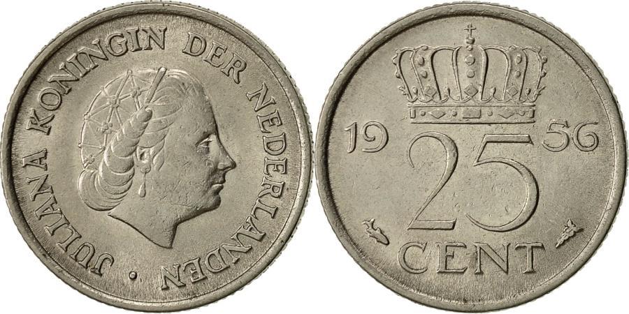 Coin Netherlands Juliana 25 Cents 1956 Nickel KM183