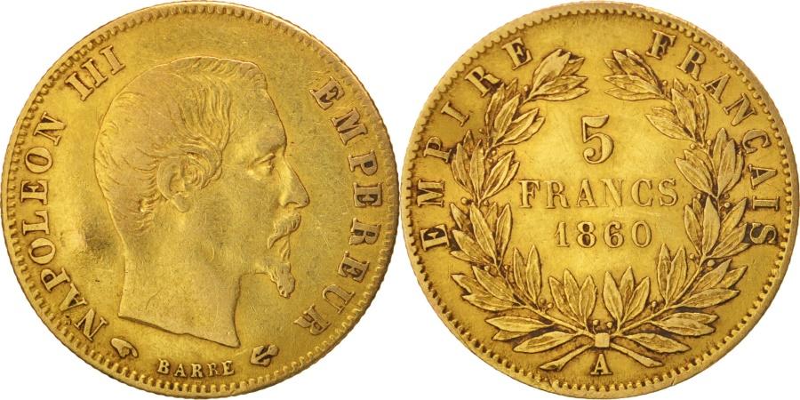 World Coins - France, Napoleon III, Napoléon III, 5 Francs, 1860, Paris, Gold, KM:787.1