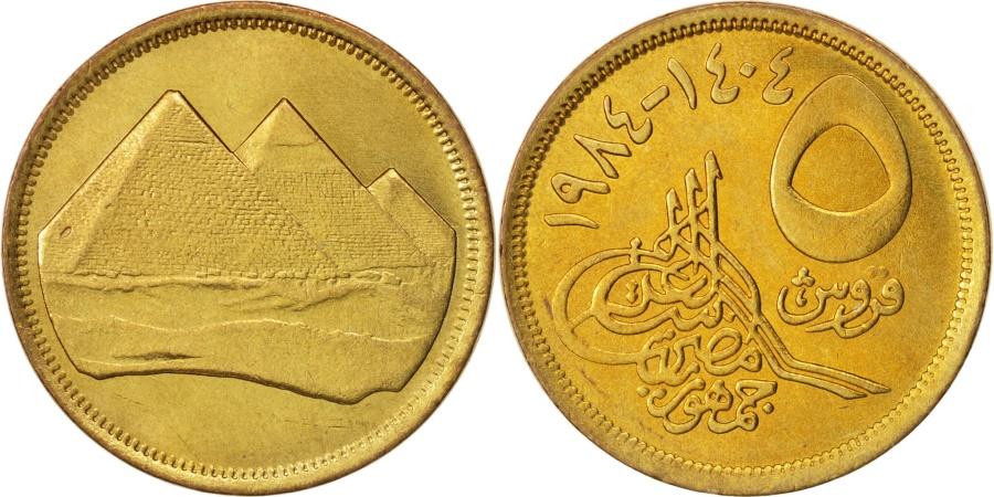 World Coins - Egypt, 5 Piastres, 1984, , Aluminum-Bronze, KM:622.1