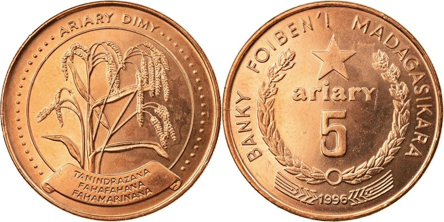 World Coins - Coin, Madagascar, 5 Ariary, 1996, Paris, , Copper Plated Steel, KM:23