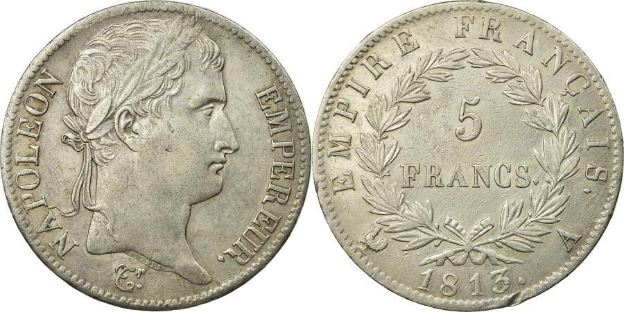 World Coins - Coin, France, Napoléon I, 5 Francs, 1813, Paris, AU(50-53), Silver, Gadoury:584