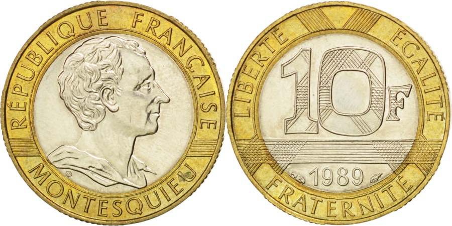 World Coins - FRANCE, Montesquieu, 10 Francs, 1989, KM #969, , Bi-Metallic, 23,...